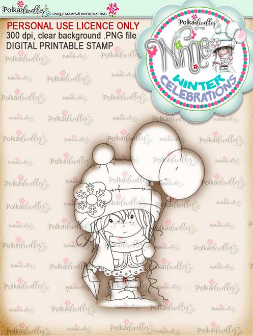Celebration- Winnie winter celebration digital papercrafting download   We created this gorgeous printable cardmaking digi for all of you who have Winter Birthdays and Celebration handmade cards to create this year! It can be difficult to find a digital stamp which is perfect for a Christmas Holiday Celebration, so try this lovely Winnie Winter Celebrations collection!   This is a great digital papercraft and scrapbooking download.   Make handmade cards with this cute winter birthday celebration printable digi stamp for downloading and printing at home. Perfect for all those Winter/Holiday/Christmas birthday celebrations you have to make over the winter season.