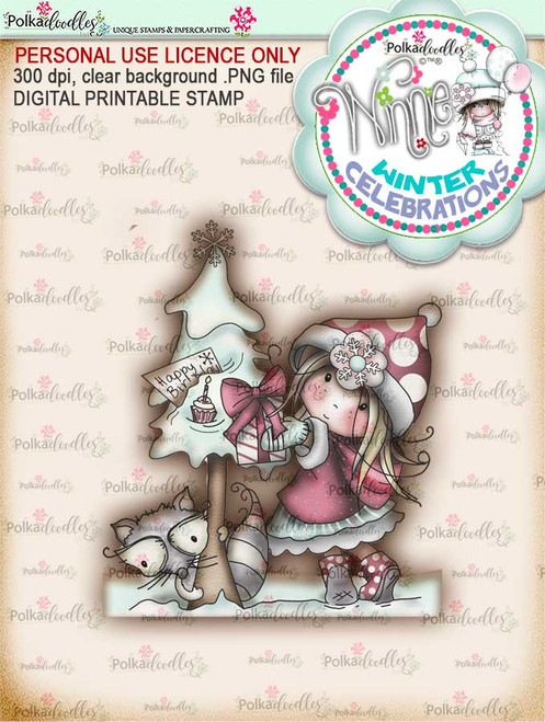 """Birthday Tree- """"precoloured"""" Winnie winter celebration digital papercrafting download  We created this gorgeous printable cardmaking digi for all of you who have Winter Birthdays and Celebration handmade cards to create this year! It can be difficult to find a digital stamp which is perfect for a Christmas Holiday Celebration, so try this lovely Winnie Winter Celebrations collection!   This is a great digital papercraft and scrapbooking download.   Make handmade cards with this cute winter birthday celebration printable digi stamp for downloading and printing at home. Perfect for all those Winter/Holiday/Christmas birthday celebrations you have to make over the winter season."""