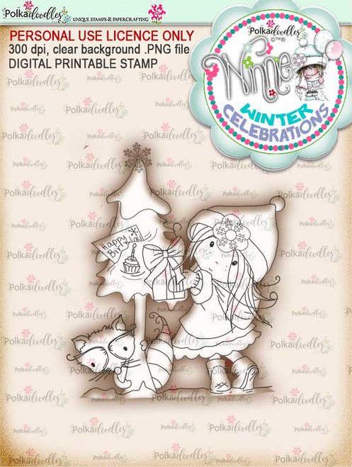 Birthday Tree- Winnie winter celebration digital papercrafting download  We created this gorgeous printable cardmaking digi for all of you who have Winter Birthdays and Celebration handmade cards to create this year! It can be difficult to find a digital stamp which is perfect for a Christmas Holiday Celebration, so try this lovely Winnie Winter Celebrations collection!   This is a great digital papercraft and scrapbooking download.   Make handmade cards with this cute winter birthday celebration printable digi stamp for downloading and printing at home. Perfect for all those Winter/Holiday/Christmas birthday celebrations you have to make over the winter season.