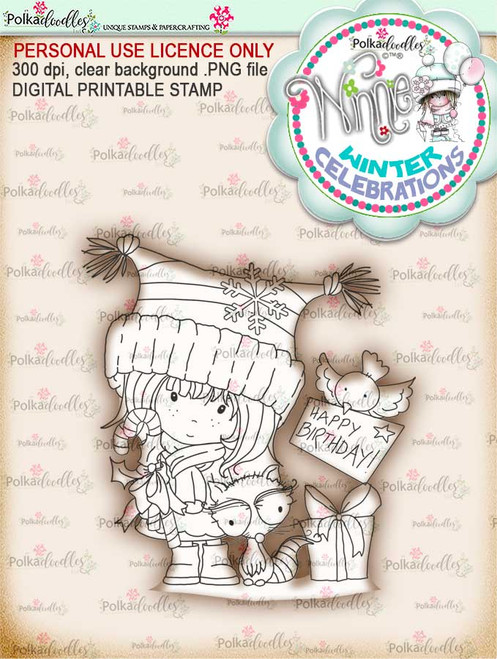 Birthday Gifts- Winnie winter celebration digital papercrafting download  We created this gorgeous printable cardmaking digi for all of you who have Winter Birthdays and Celebration handmade cards to create this year! It can be difficult to find a digital stamp which is perfect for a Christmas Holiday Celebration, so try this lovely Winnie Winter Celebrations collection!   This is a great digital papercraft and scrapbooking download.   Make handmade cards with this cute winter birthday celebration printable digi stamp for downloading and printing at home. Perfect for all those Winter/Holiday/Christmas birthday celebrations you have to make over the winter season.