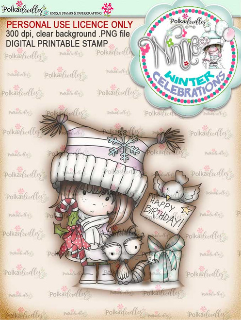 "Birthday Gifts- ""precoloured"" Winnie winter celebration digital papercrafting download  We created this gorgeous printable cardmaking digi for all of you who have Winter Birthdays and Celebration handmade cards to create this year! It can be difficult to find a digital stamp which is perfect for a Christmas Holiday Celebration, so try this lovely Winnie Winter Celebrations collection!   This is a great digital papercraft and scrapbooking download.   Make handmade cards with this cute winter birthday celebration printable digi stamp for downloading and printing at home. Perfect for all those Winter/Holiday/Christmas birthday celebrations you have to make over the winter season."