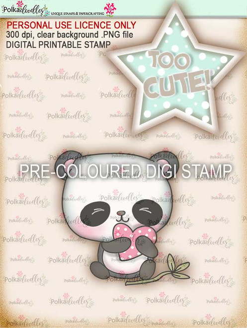 "Too Cute Panda ""precoloured"" digital papercrafting download"
