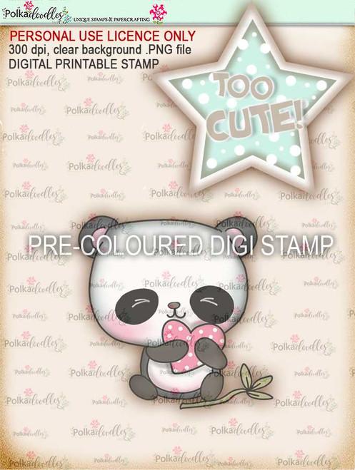"Too Cute Panda ""precoloured"" digital papercrafting download"