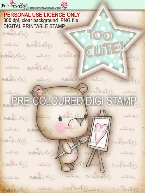 "Too Cute Bear Heart ""precoloured"" digital papercrafting download"