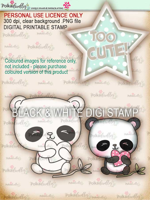 Too Cute Panda digital papercrafting download