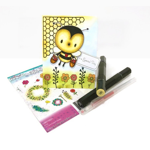 """Too Cute Bee heart basket """"precoloured' digital papercrafting download"""