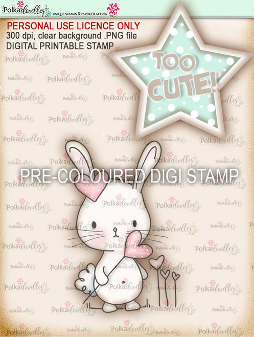 "Too Cute Bunny rabbit love basket ""precoloured' digital papercrafting download"