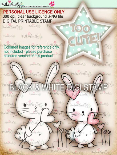 Too Cute Bunny love digital papercrafting download