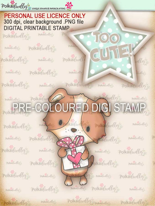 "Too Cute Puppy love ""precoloured"" digital papercrafting download"