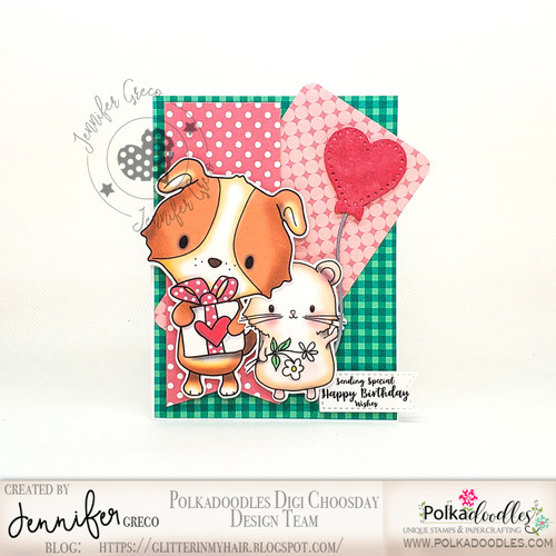 """Too Cute Puppy love """"precoloured"""" digital papercrafting download"""