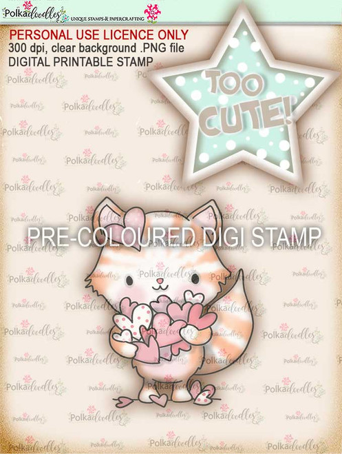 "Too Cute kitty love ""precoloured"" digital papercrafting download"