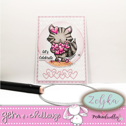 """Too Cute kitty love """"precoloured"""" digital papercrafting download"""