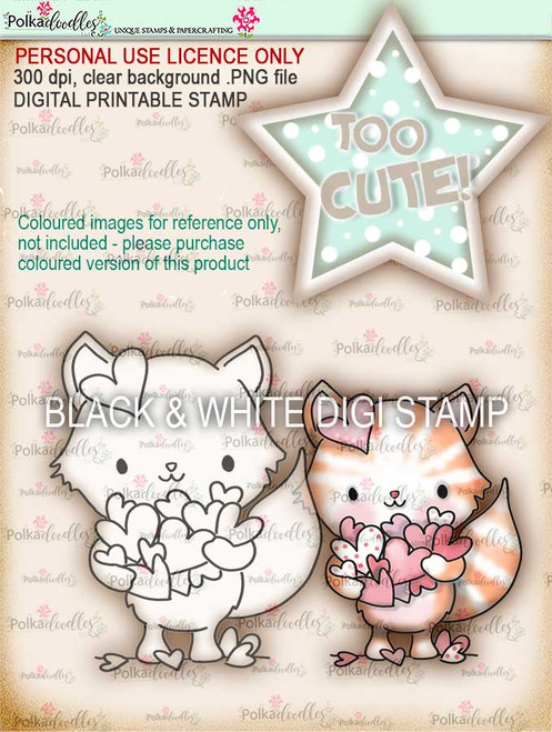 Too Cute kitty love digital papercrafting download