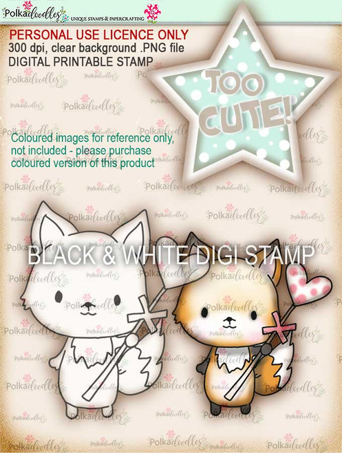 Too Cute Foxy Love & Kisses digital papercrafting download