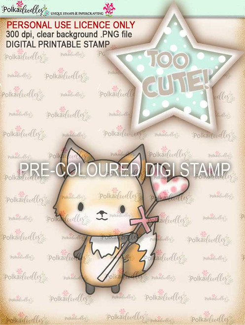 """Too Cute Foxy Love & Kisses """"precoloured"""" digital papercrafting download"""