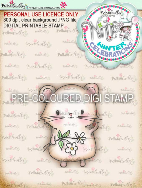 "Too Cute Hamster Love ""precoloured"" digital papercrafting download"
