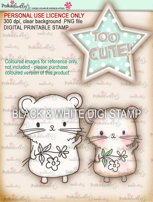 Too Cute Hamster Love digital papercrafting download