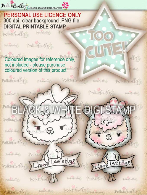 Too Cute Llama Love digital papercrafting download