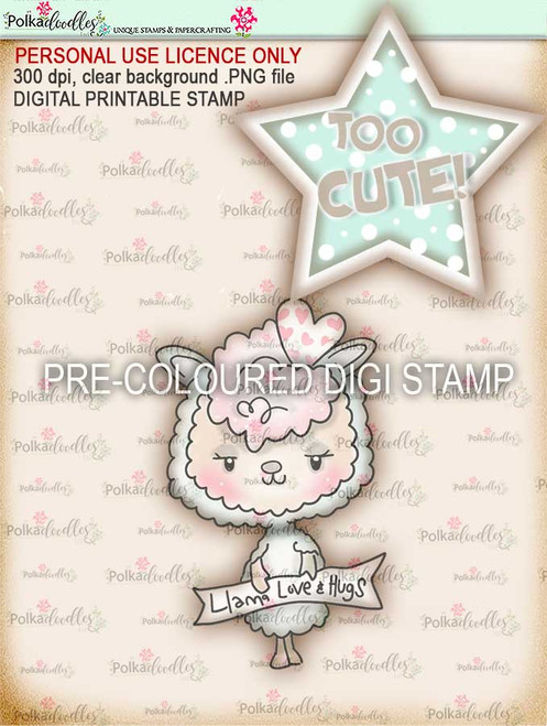 "Too Cute Llama Love ""precoloured"" digital papercrafting download"