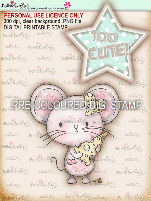 """Too Cute Mouse Love """"precoloured"""" digital papercrafting download"""