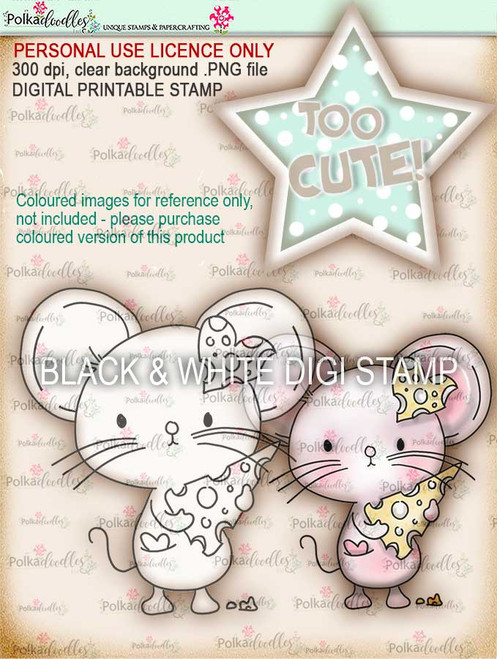 Too Cute Mouse Love digital papercrafting download