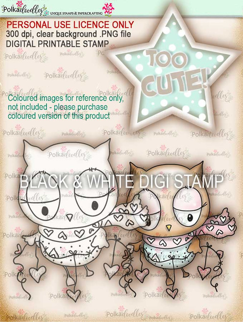 Too Cute Owl Love digital papercrafting download