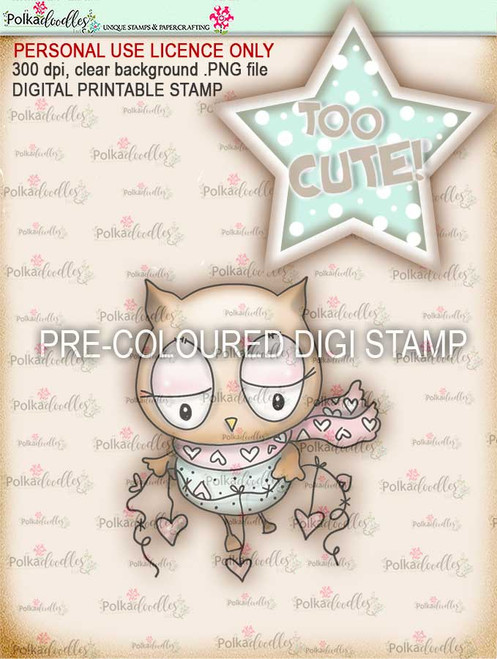 """Too Cute Owl Love """"precoloured"""" digital papercrafting download"""