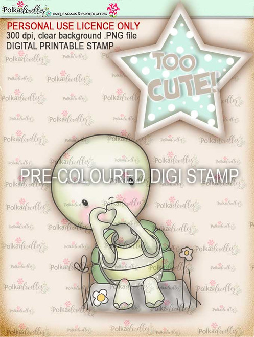 "Too Cute Turtle Love ""precoloured"" digital papercrafting download"