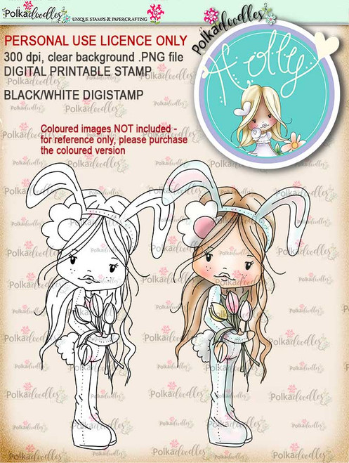 Holly Easter bunny - digital papercrafting download