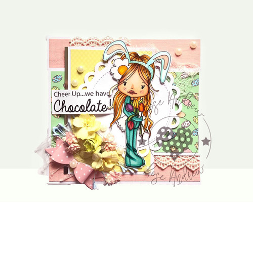 "Holly Easter bunny - ""precoloured"" digital papercrafting download"