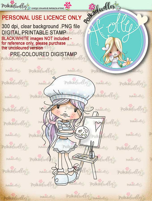 "Holly painted love- ""precoloured"" digital papercrafting download"