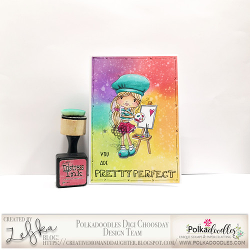 """Holly painted love- """"precoloured"""" digital papercrafting download"""