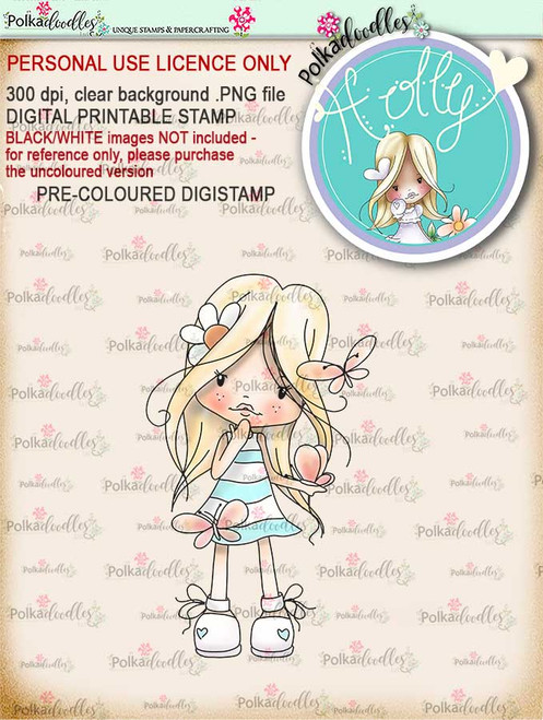"Holly Butterfly - ""precoloured"" digital papercrafting download"