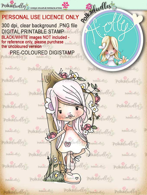 "Holly Ladybird - ""precoloured"" digital papercrafting download"
