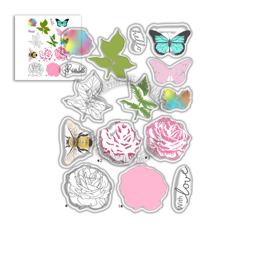 Honey Rose Transitions Layering Stamps -  Clear Polymer stamp set