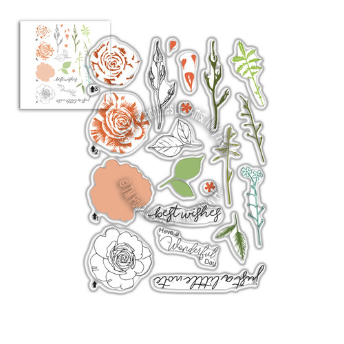 Spring Rose Transitions Layering Stamps -  Clear Polymer stamp set