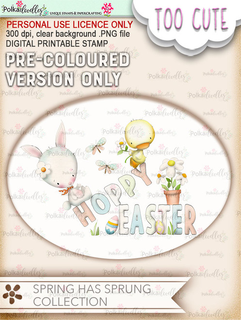 Hoppy Easter - COLOURED Printable Digital download