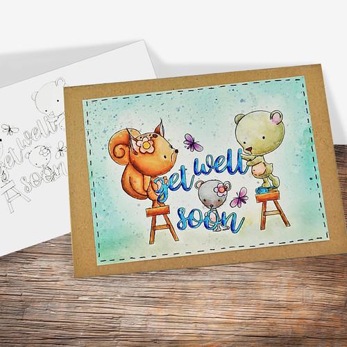 Get Well Soon - COLOURED Printable Digital download