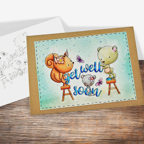 Get Well Soon - COLOURED Printable Digital download