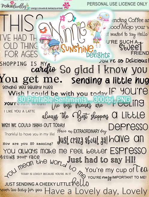 Winnie Sunshine Delights Sentiments Bundle digi scrap printable download