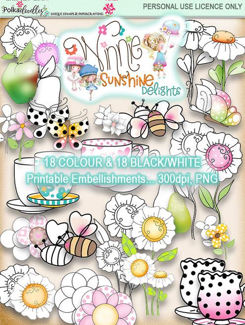 Winnie Sunshine Delights Embellishments Bundle digi scrap printable download