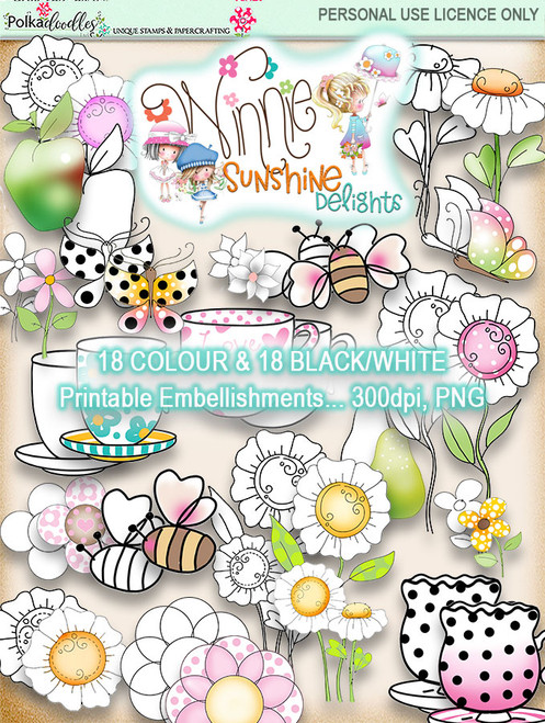 Winnie Sunshine Delights Embellishments Bundle digi scrap printable download