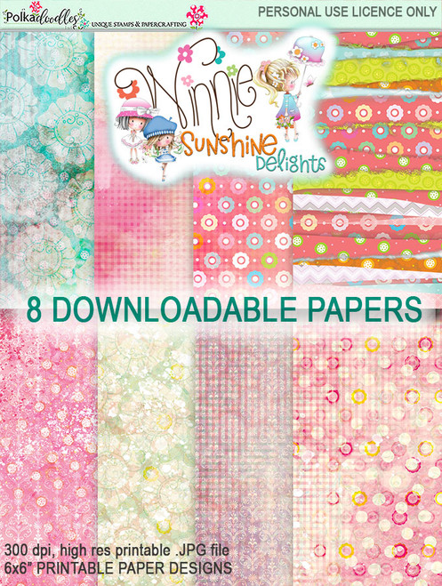 "Winnie Sunshine Delights 6""x 6"" Paper Pack 1 digi scrap printable download"