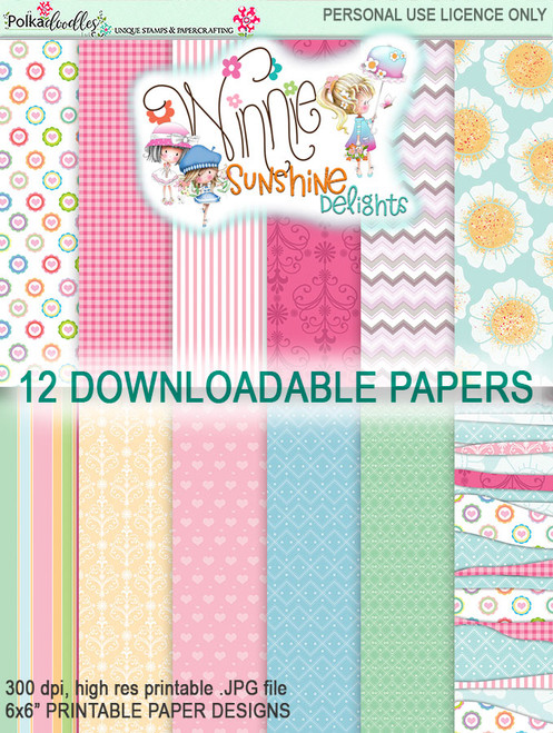"Winnie Sunshine Delights 6""x 6"" Paper Pack 2 digi scrap printable download"
