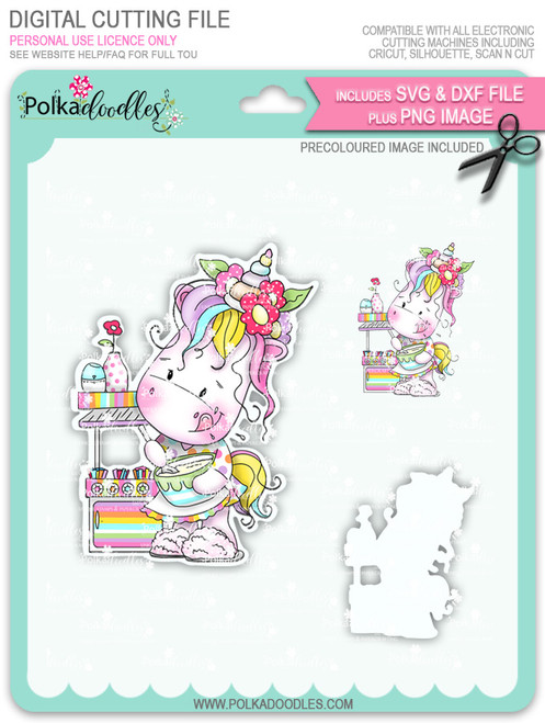Baketime - Sparkle Unicorn COLOUR digi stamp download with Cutting File