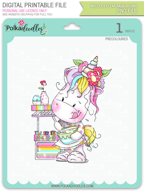 Baketime - Sparkle Unicorn COLOUR digi stamp download