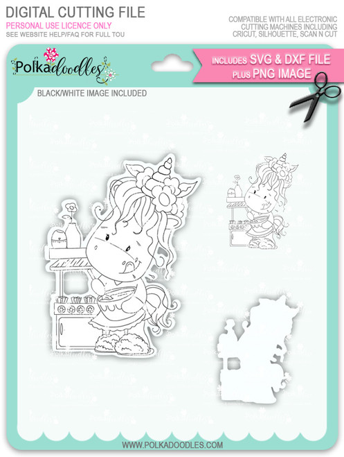 Baketime - Sparkle Unicorn digi stamp download with Cutting File