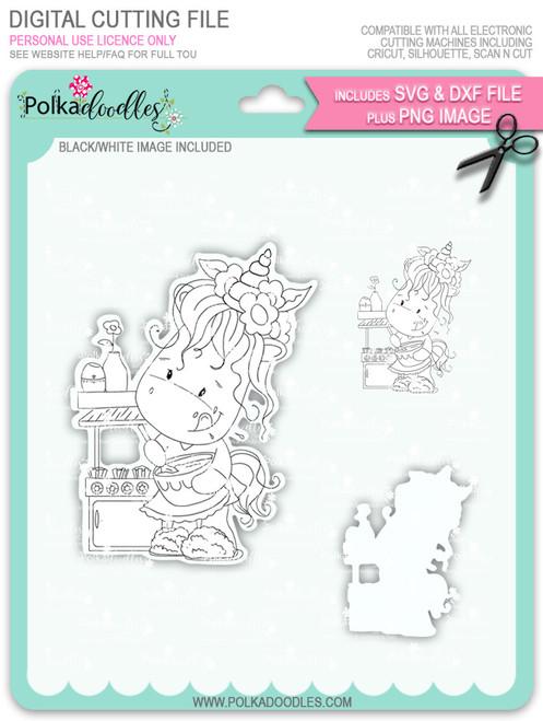Baketime - Sparkle Unicorn digi stamp download with Cutting File