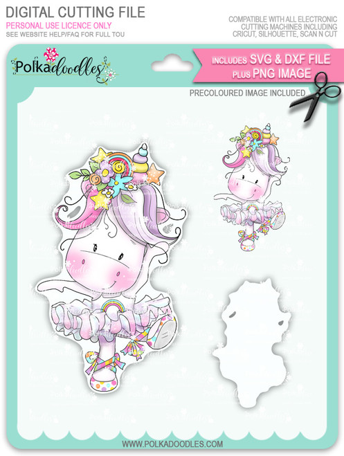 Ballet Dancing - Sparkle Unicorn COLOUR digi stamp download with Cutting File