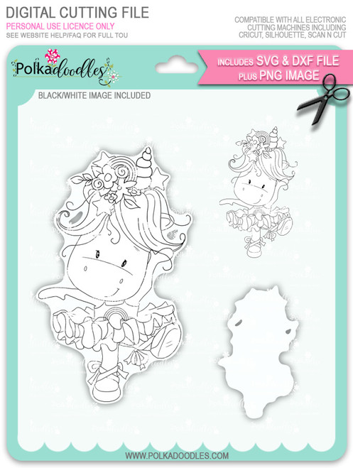 Ballet Dancing - Sparkle Unicorn digi stamp download with Cutting File